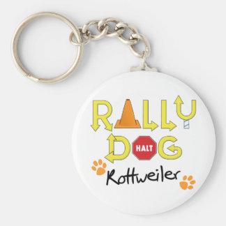 Rottweiler Rally Dog Basic Round Button Keychain
