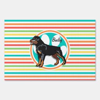 Rottweiler; Rayas brillantes del arco iris Letrero