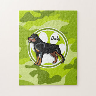 Rottweiler, Rott; bright green camo, camouflage Puzzles