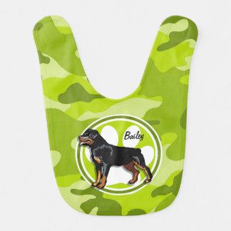 Rottweiler, Rott; bright green camo, camouflage Bibs