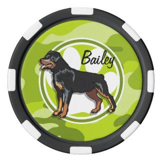 Rottweiler, Rott; camo verde claro, camuflaje Fichas De Póquer
