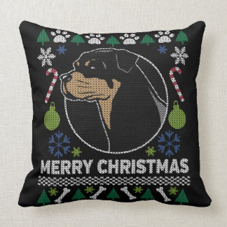 Rottweiler Rottie Merry Christmas Ugly Sweater Throw Pillow