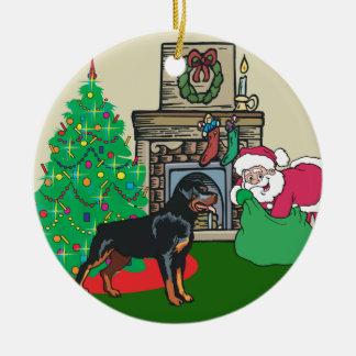 Rottweiler Santas Gift Ceramic Ornament