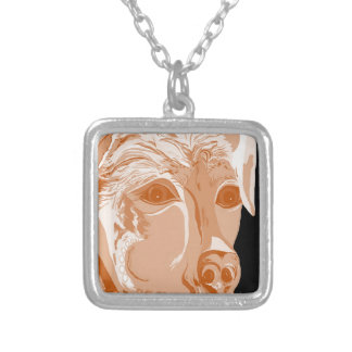 Rottweiler Sepia Tones Silver Plated Necklace