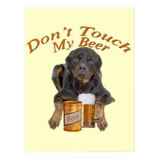 Rottweiler Shares A Beer Postcard