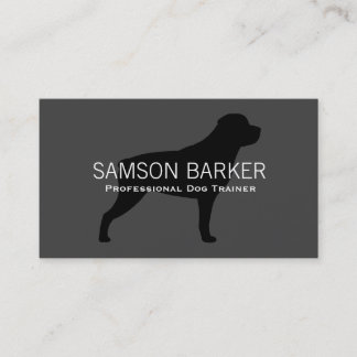 Rottweiler Silhouette Black on Grey Business Card