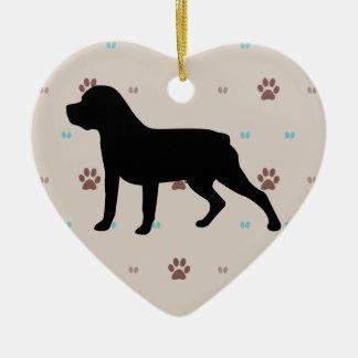Rottweiler Silhouette Ceramic Ornament