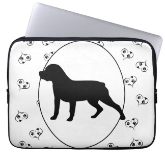 Rottweiler Silhouette Hearts and Paw Prints Computer Sleeve