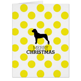 Rottweiler silhouette on yellow polka dots cards