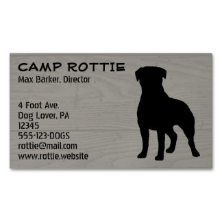 Rottweiler Silhouette Wood Style Magnetic Business Card