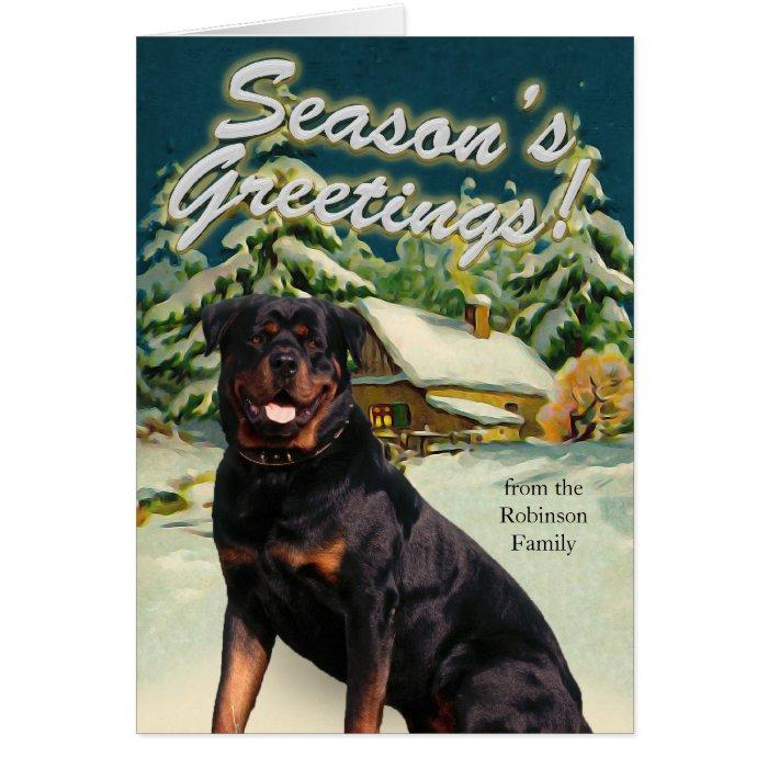 Rottweiler Snow Cabin Christmas Cards