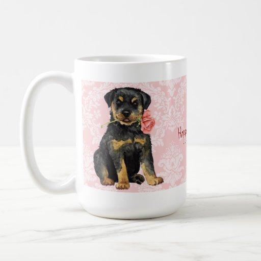 Rottweiler subió tarjeta del día de San Valentín Taza De Café