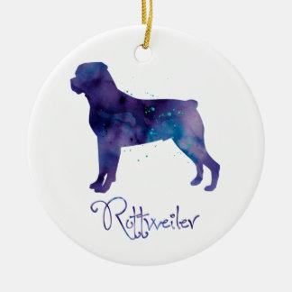 Rottweiler Watercolor Ceramic Ornament