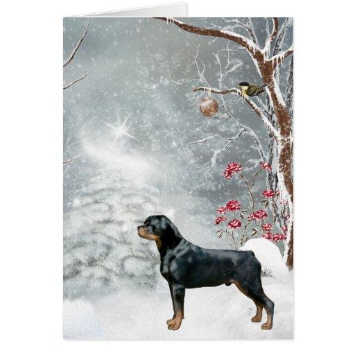 Zazzle Rottweiler Winter Wonderland Holiday Card