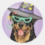 Rottweiler Witch Classic Round Sticker