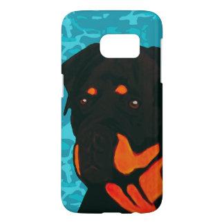 Rottweiler with Blue Camo Samsung Galaxy S7 Case