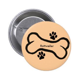 Rottweiler with Bone N Pawprint Design Pinback Button
