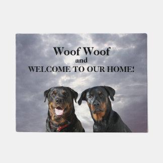 Rottweiler Woof Welcome Doormat