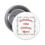 Rottweilers hace navidad feliz - botón pin