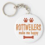 Rottweilers me hace feliz llavero personalizado