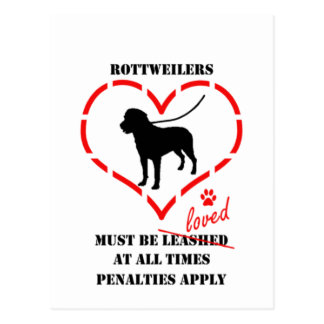 Rottweilers Must Be Loved Postcard
