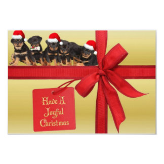 Rottweilers Wish You A Joyful Christmas 3.5x5 Paper Invitation Card