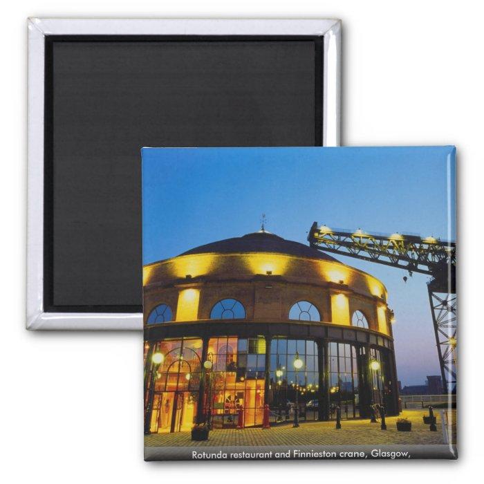 Rotunda restaurant and Finnieston crane, Glasgow, 2 Inch Square Magnet