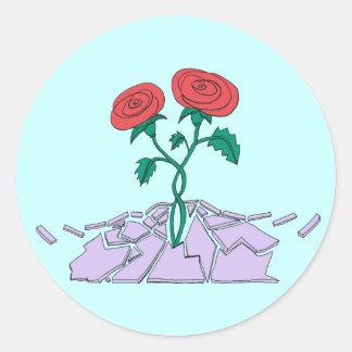 Rotura Babilonia de los rosas Pegatina Redonda