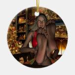 Rotura del navidad adorno redondo de cerámica