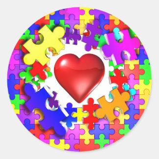 Roturas del amor con autismo etiquetas redondas