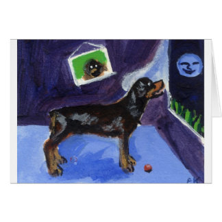 Rotweiler sees smiling moon greeting card