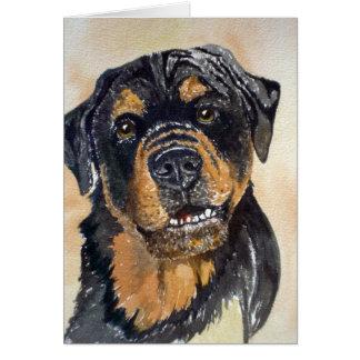 Rotweiler Watercolor Portrait Card