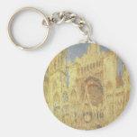 Rouen Cathedral by Claude Monet, Vintage Church Basic Round Button Keychain