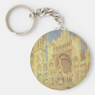 Rouen Cathedral by Claude Monet, Vintage Church Basic Round Button Keychain