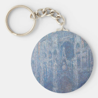 Rouen Cathedral, Clear Day by Claude Monet Keychain
