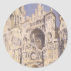 Rouen Cathedral, Harmony Blue Gold by Claude Monet Classic Round Sticker