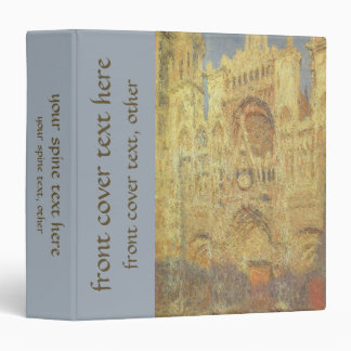 Rouen Cathedral, Sunset by Claude Monet 3 Ring Binder