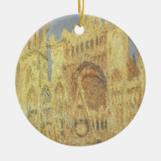 Rouen Cathedral, Sunset by Claude Monet Ceramic Ornament