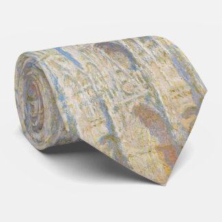 Rouen Cathedral West Facade Sunlight by Monet Neck Tie