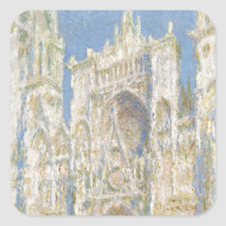 Rouen Cathedral West Facade Sunlight by Monet Square Stickers