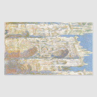 Rouen Cathedral West Facade Sunlight by Monet Rectangular Stickers