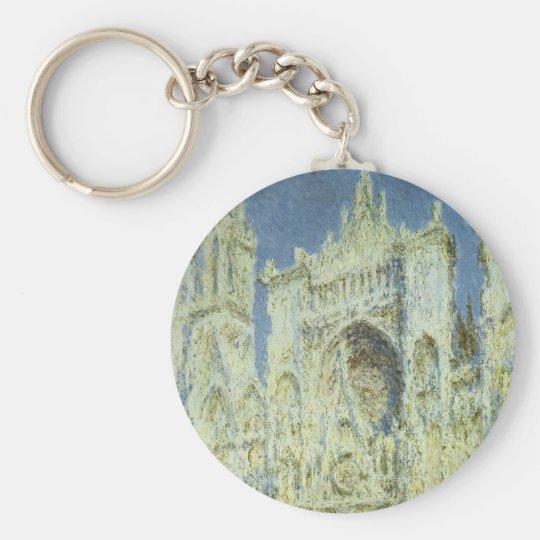 Rouen Cathedral West Facade Sunlight, Claude Monet Keychain