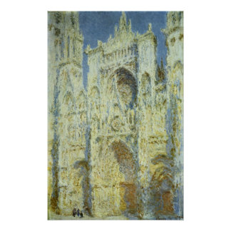Rouen Cathedral West Facade Sunlight, Claude Monet Poster