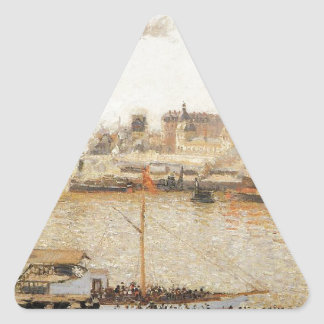 Rouen, Saint Sever Morning by Camille Pissarro Triangle Sticker