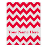 Rouge Bold Chevron with monogram Poster
