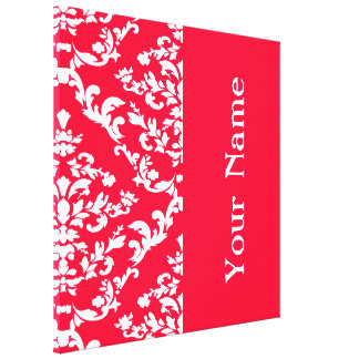 Rouge Bold Damask with name @ Emporiomoffa Canvas Print