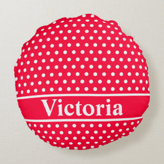 Rouge Polka Dots Round Pillow