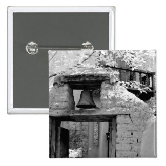 Rough adobe bell in entryway, Santa Fe, New 2 Inch Square Button