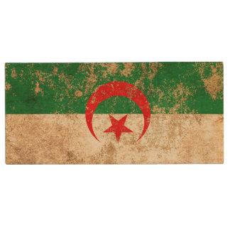 Rough Aged Vintage Algerian Flag Wood USB 2.0 Flash Drive