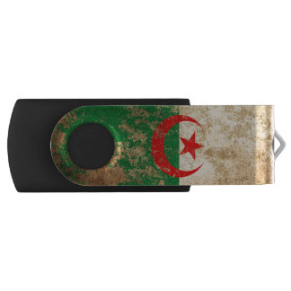 Rough Aged Vintage Algerian Flag Swivel USB 2.0 Flash Drive